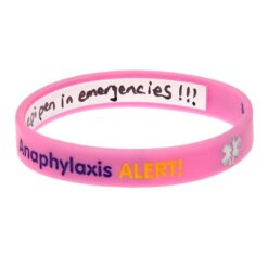 Pink Anaphylaxis Alert Write On Wristband