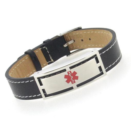 Black Leather Medical Alert Bracelet