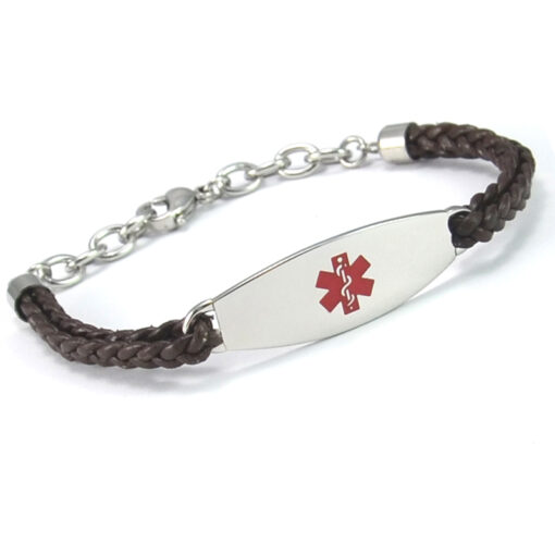Lightweight Leather medical ID bracelets