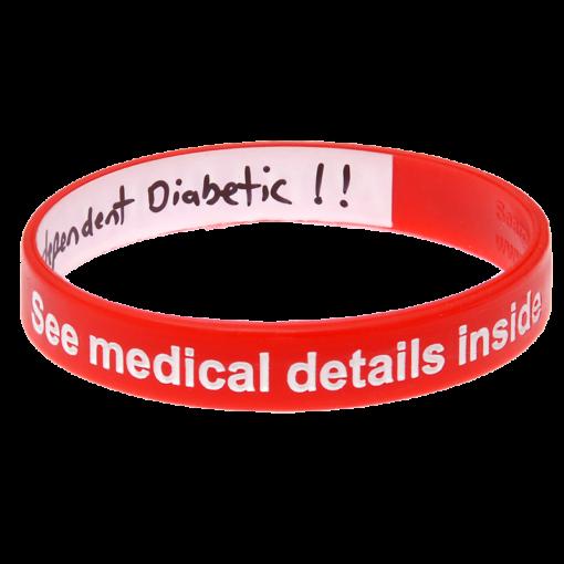 Diabetes Alert Write On Wristband Red