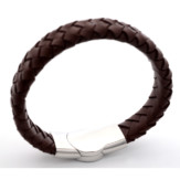 Braided leather medical ID bracelet