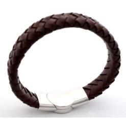 Braided leather medical ID bracelet