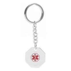 Octagonal Medical ID Key Chain