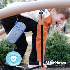 Kids carrying Allermates Busy Boy Blue kids case
