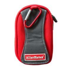 red asthma inhaler case back