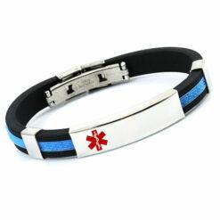 Blue & Black Sports Medical ID Bracelet