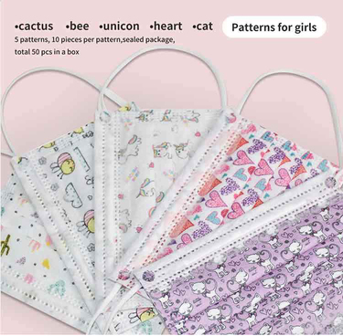 Disposable facemask patterns for Girls